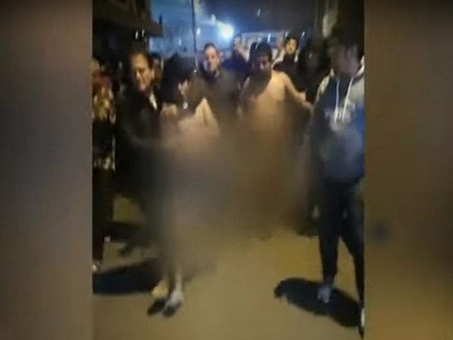 Los Olivos: vecinos desnudan a delincuentes y los obligan a hacer sentadillas