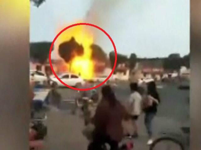 China: fuga de gas provocó gran explosión en restaurante
