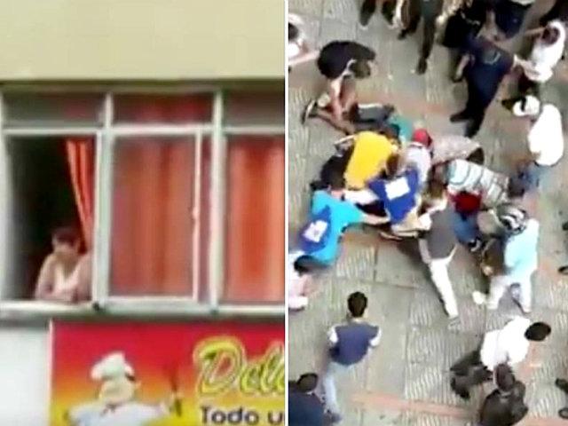 Colombia: mujer en estado de ebriedad lanza dinero a la calle