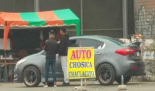 Inmediaciones del óvalo Santa Anita convertido en paradero informal de colectiveros