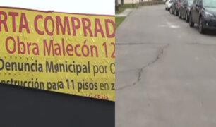 Magdalena: construcción de edificio de 11 pisos ha provocado hundimientos