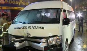 Surquillo: 5 heridos deja despiste de miniván por intensa llovizna