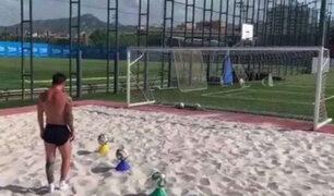El peculiar entrenamiento de Messi para recuperarse de lesión muscular