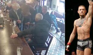 El preciso instante cuando Conor McGregor le mete un puñetazo a hombre que rechazó su whisky