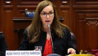 Rosa Bartra asegura que proyectos del Ejecutivo tendrán tratamiento según reglamento