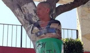 Indignados vecinos golpean y amarran a un árbol a presunta ladrona