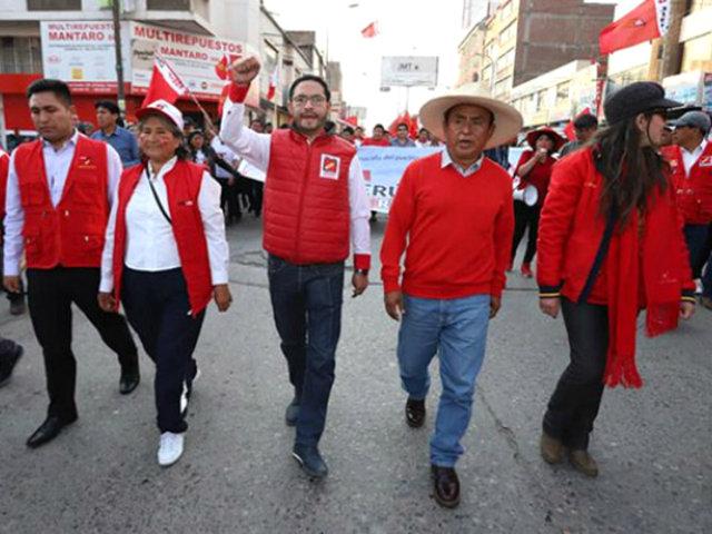 Huancayo: Gregorio Santos encabezó marcha a favor de Vladimir Cerrón