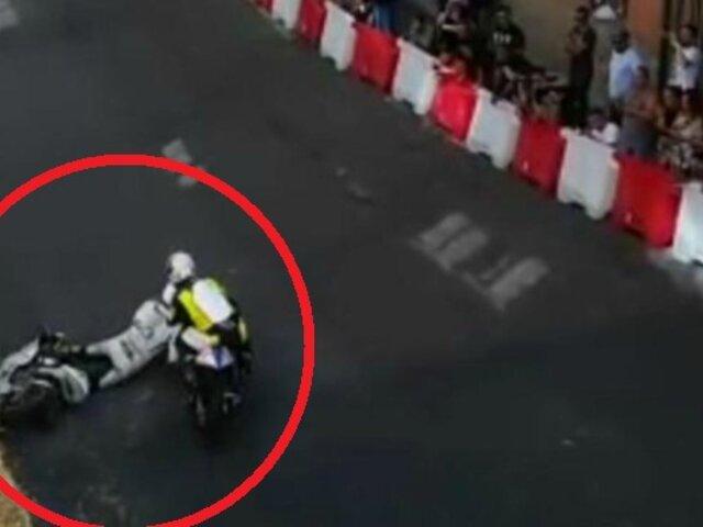 Atropellan a piloto tras caer al suelo y sale ileso