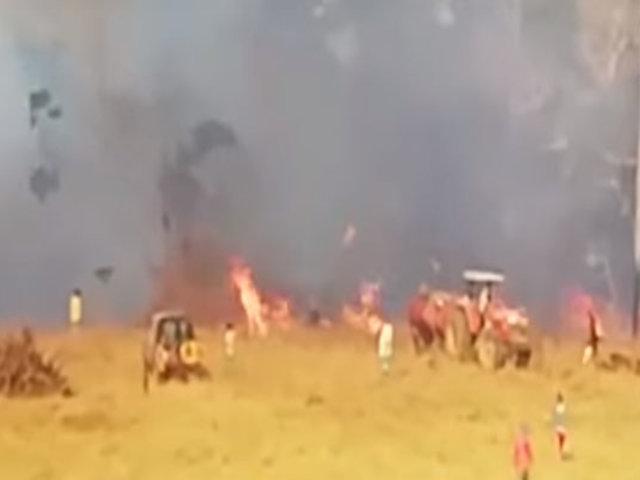 Madre de Dios: altas temperaturas reavivan incendio en Iñapari