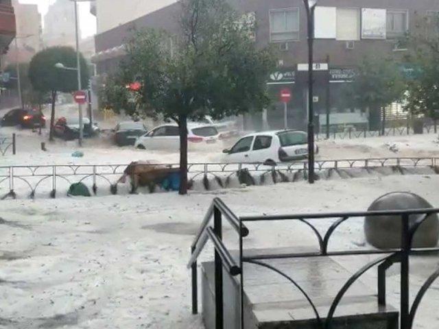 España: intensas lluvias inundan varios sectores de la ciudad de Madrid