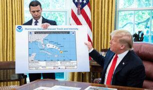 Donald Trump presenta mapa errado de trayectoria de huracán Dorian