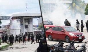 Obreros de Construcción Civil y la policía se enfrentaron en sede del Gobierno Regional de Loreto