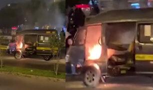 Callao: combi con pasajeros se incendió en plena Av. Faucett