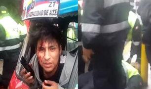 Ate: mototaxista en estado de ebriedad atropella a fiscalizador