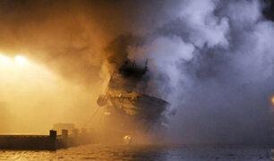 Noruega: se incendia embarcación rusa con más de 200 mil litros de combustible