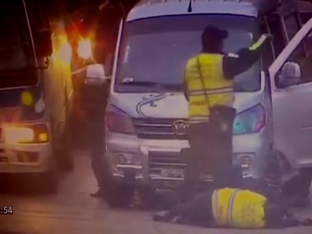 Ate: difunden nuevo video de conductor que embiste a inspector municipal