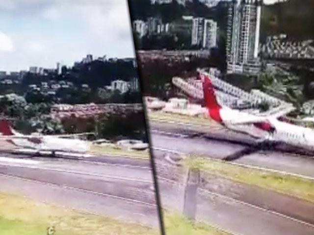 Registran peligroso aterrizaje de avión en aeropuerto de Colombia