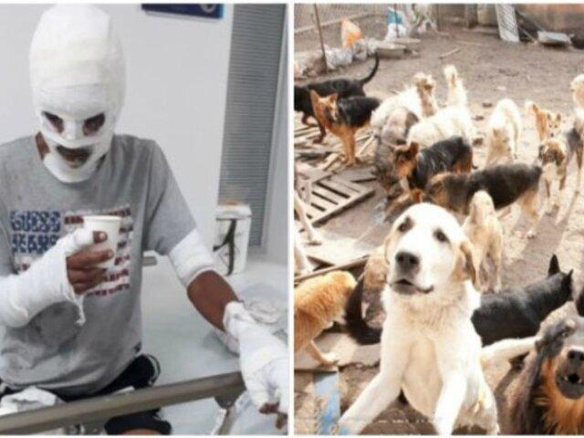 Joven sufre severas quemaduras por rescatar a ocho perros de incendio