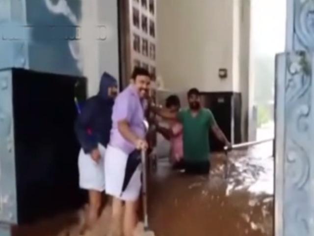 India: templo acaba inundado tras fuertes precipitaciones