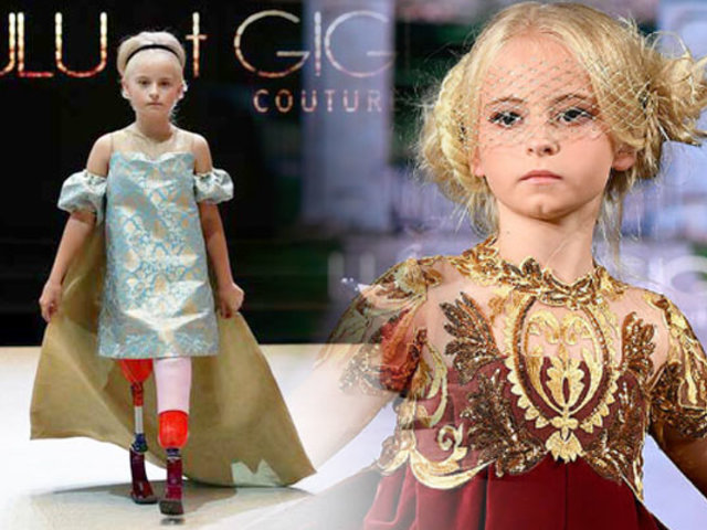 Niña con las dos piernas amputadas desfiló en la Semana de la Moda de París