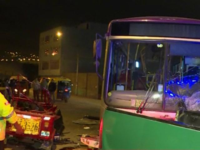 Huarochirí: tres muertos deja choque entre bus del Corredor Morado y mototaxi