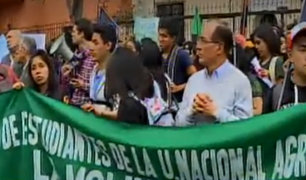 Alumnos de la Universidad Agraria marcharon en contra de cesión de terreno a Jesús María