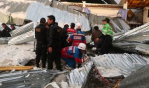 Huancayo: brigadistas continúan trabajos tras derrumbe en local