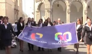Arequipa: marchan en Plaza de Armas por aniversario de Panamericana