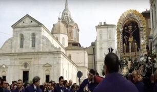 Así se desarrolló la procesión del Señor de los Milagros en Italia