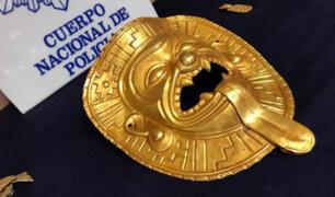 Policía española recupera máscara prehispánica de oro robada en Colombia
