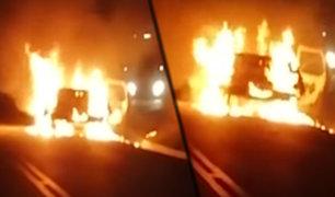 Cajamarca: camioneta se incendió en carretera
