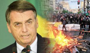 Brasil: Bolsonaro dice que ejercito está listo si hay protestas como las de Chile