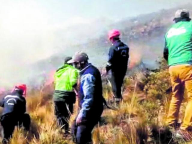 Cusco: incendio forestal consume pastizales en Mollepata