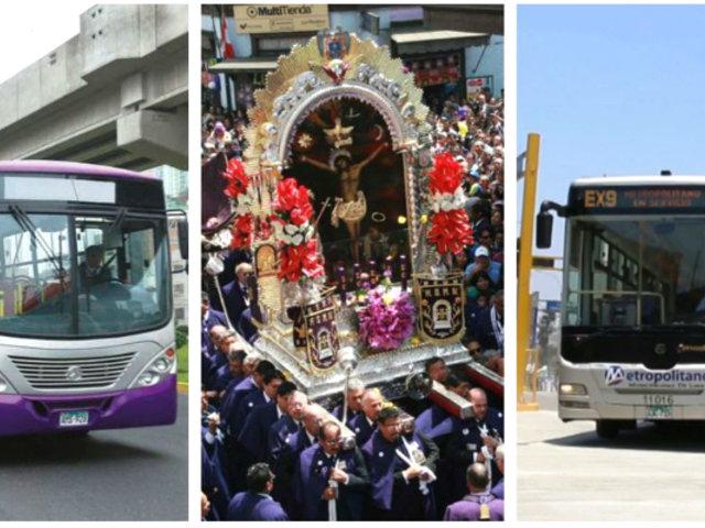 Señor de los Milagros: Metropolitano y corredores modificarán su ruta este 18 y 19 de octubre