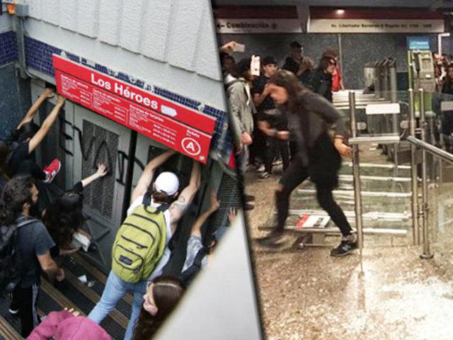 Chile: se registra caos en estaciones del metro de Santiago
