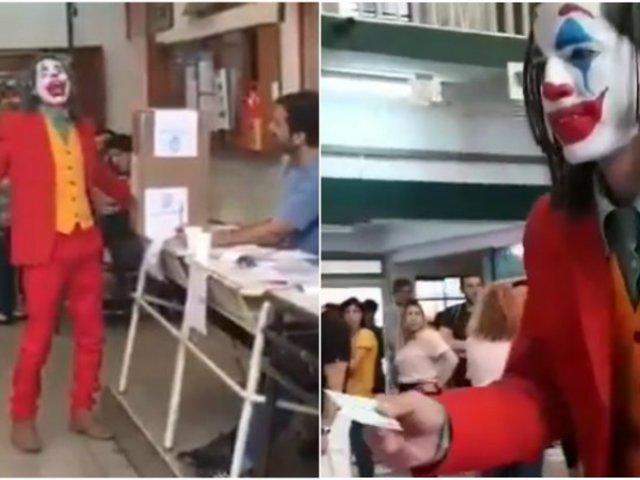Argentina: hombre fue a votar disfrazado de Joker y se volvió viral