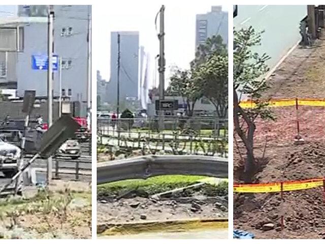 Avenida Javier Prado luce completamente sucia y descuidada