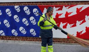 Irán presenta murales contra Estados Unidos en antigua embajada