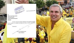 Castañeda Lossio: exalcalde de Lima pidió licencia temporal a Solidaridad Nacional