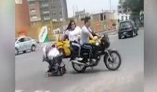 La Libertad: bebé es trasladado en moto sin medidas de seguridad