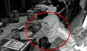 Chincha: delincuente 'cogotea' a vendedora para asaltar ferretería