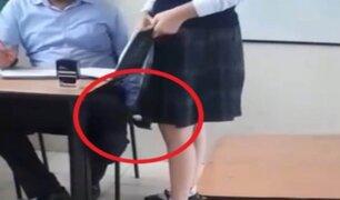 Profesor es captado grabando debajo de las faldas de sus alumnas