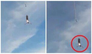 El dramático momento en el que se rompe cuerda durante salto de bungee jumping