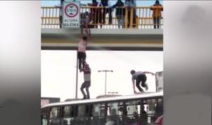 SJM: pasajeros de bus salvan la vida de joven que intentó lanzarse de puente