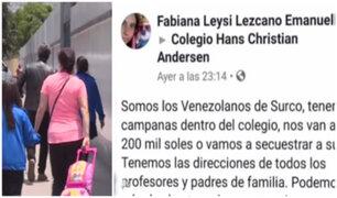 Surco: amenazan en redes sociales con secuestrar a escolares