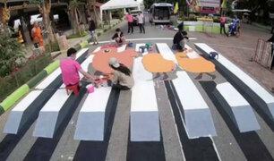 Tailandia: evitan atropellos con cruceros peatonales en 3D