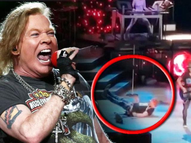 Guns N 'Roses: Axl Rose sufre aparatosa caída en pleno concierto