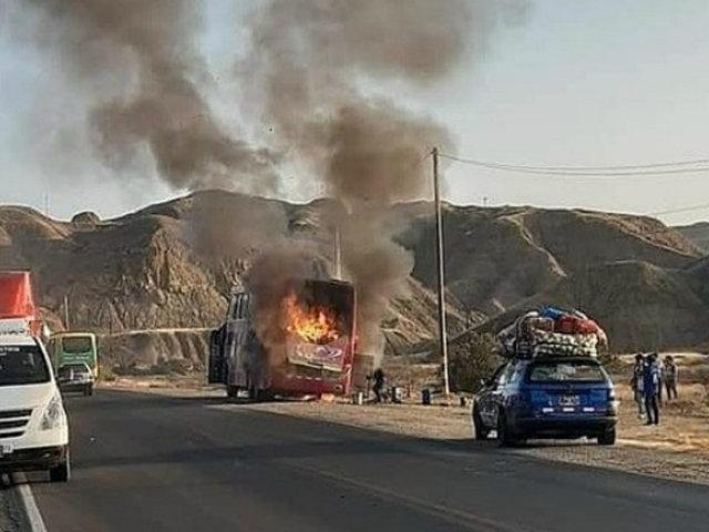 Pasajeros salvaron de morir quemados tras incendio de bus en Piura