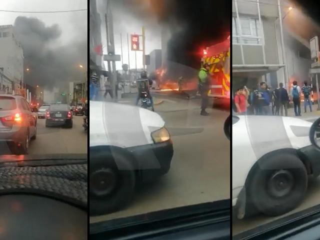 Lince: bus de transporte público se incendia en la avenida Petit Thouars