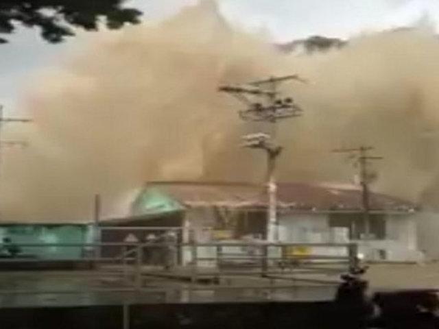 Colombia: tubo de una planta de energía se rompió causando inundación